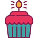 Bakery, Bithday, Birthday And Party, food, Candle, cupcake, Dessert Brown icon