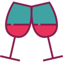 Alcohol, food, toast, Birthday And Party, Glasses, wine, party Black icon