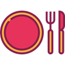 Food And Restaurant, Restaurant, Dish, Cutlery, Tools And Utensils, Fork, Knife, Plate Brown icon