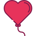 Heart, love, Balloon, balloons, romantic, Heart Shaped, Valentines Day, Birthday And Party Crimson icon