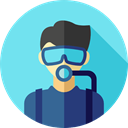 job, Social, Diver, profession, user, profile, Avatar, Professions And Jobs SkyBlue icon