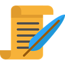 document, papers, writer, Signature, interface, education, writing, quill Goldenrod icon