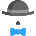 hat, Clothes, fashion, Costume, bow tie Black icon