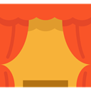 cinema, buildings, Theater, Curtains, theatre, entertainment, stage Tomato icon