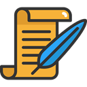 writing, quill, writer, Signature, interface, education, document, papers Goldenrod icon