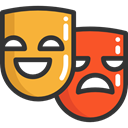 Masks, theatre, tragedy, entertainment, education, Theater, Drama, Comedy DarkSlateGray icon