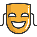 party, Mask, Theater, Drama, Comedy, entertainment, fashion, Masks, theatre, tragedy, carnival Goldenrod icon