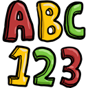 Abc, numbers, education, learning Black icon