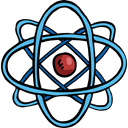 science, Atomic, education, nuclear, physics Black icon