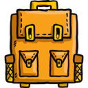 travel, Backpack, luggage, baggage, Bags Orange icon