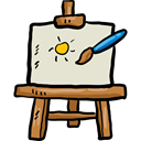 Canvas, Painter, Art And Design, tools, tool, paint, Art, Painting, Artistic, Easel Black icon