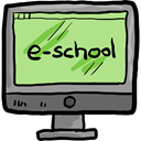 Computer, monitor, screen, school, education, learning LightGreen icon