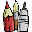 pencil, School Material, Edit Tools, Pen, education, paint brush, Writing Tool Black icon