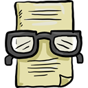 education, files, reading, Glasses, document, paper PaleGoldenrod icon