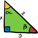 Right Triangle, mathematics, education, maths, trigonometry YellowGreen icon