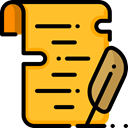 interface, education, writing, scroll, reading, Papyrus Goldenrod icon