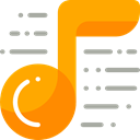 music, Quaver, Music And Multimedia, interface, music player, song, musical note Orange icon