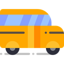 transportation, transport, vehicle, school bus, Automobile, Public transport Orange icon