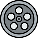cinema, film, movie, interface, technology, entertainment, film reel, video player, filming Gray icon