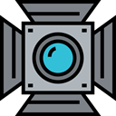 filming, Spotlight, technology, electronics, cinema, light, photography Gray icon