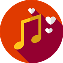 music, interface, music player, song, musical note, Quaver, Music And Multimedia OrangeRed icon