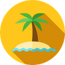 nature, Oasis, Island, Desert, tropical, Palm Tree Gold icon