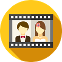 film, Heart, love, romantic, memories, Wedding Video, Love And Romance Gold icon