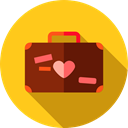 Heart, suitcase, travel, luggage, trip, Honeymoon, Love And Romance Icon