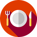 Food And Restaurant, Restaurant, Dish, Cutlery, Tools And Utensils, Fork, Knife, Plate OrangeRed icon