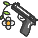 Peace, Gun, pistol, loving, Pacifism, Flower, love, miscellaneous, hippie DarkSlateGray icon