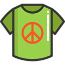 interface, Peace, fashion, signs, map pointer, hippie, pin, Shirt, placeholder, Map Location, Map Point YellowGreen icon