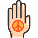 hippie, Peace, Gestures, Pacifism, Hands And Gestures, palm NavajoWhite icon