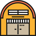 storage, buildings, warehouse, Architecture And City, Hangar Goldenrod icon
