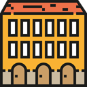 hotel, travel, buildings, Hostel, Holidays, vacations, Architecture And City Goldenrod icon