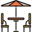 Restaurant, terrace, Chairs, Sun Umbrella, Furniture And Household Black icon