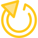 Arrows, Reload, Orientation, loading, Direction, ui, Multimedia Option, Circular Arrow Gold icon
