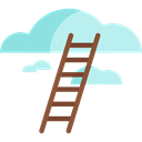 Clouds, nature, legend, sky, Ladder, fairytale Black icon