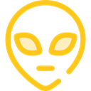people, user, Ufo, Avatar, Alien, space, galaxy, extraterrestrial Gold icon