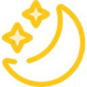 Stars, Moon, night, weather, starry, Astronomy Gold icon