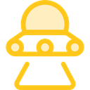 Ufo, spaceship, Science Fiction, transportation, Alien, transport, extraterrestrial Gold icon
