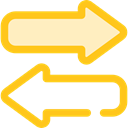 Arrows, right, Left, interface, Direction, transfer, bidirectional Gold icon