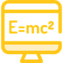 monitor, screen, science, education, physics, maths Gold icon