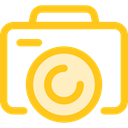 electronics, photograph, photo camera, picture, interface, digital, technology Gold icon