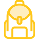 education, travel, Backpack, luggage, baggage, Bags Gold icon