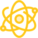 science, physics, Atomic, education, nuclear, Electron Gold icon