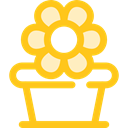 Flower, nature, garden, pot, blossom, Botanical Gold icon