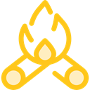 Burn, miscellaneous, hot, Flame, nature, Bonfire, Camping, campfire Gold icon
