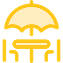 Restaurant, terrace, Chairs, Sun Umbrella, Furniture And Household, Umbrella Gold icon