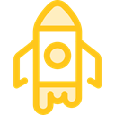 Rocket, transportation, transport, Space Ship, Rocket Ship, Space Ship Launch, Rocket Launch Gold icon