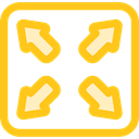Edit Tools, Arrows, Fullscreen, maximize, Multimedia Option Gold icon
